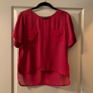 Dark Red Cropped Short-Sleeve Blouse